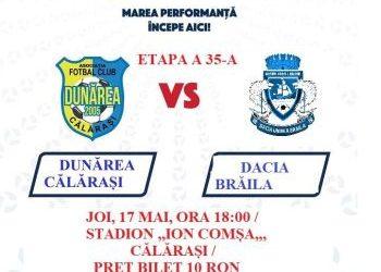 Dunărea Călărași – Dacia Brăila, miercuri, 17 mai, ora 18:00
