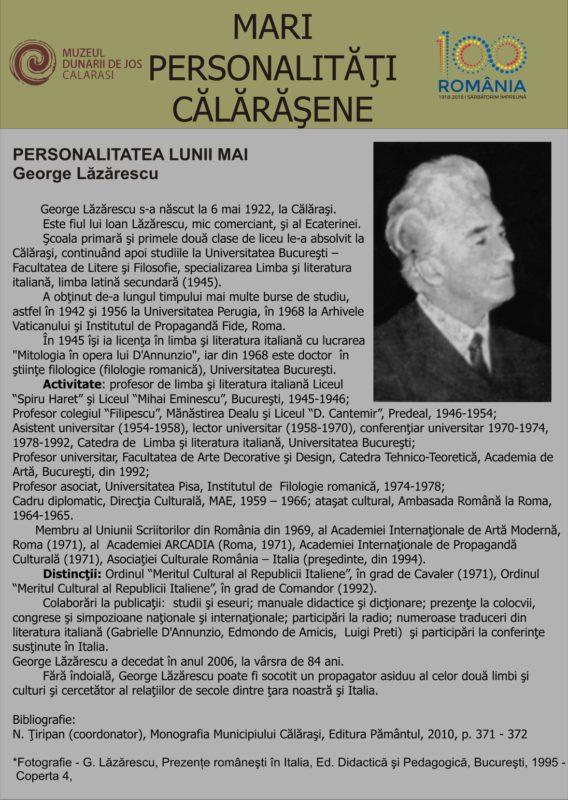 personalitatea lunii mai george lazaraescu