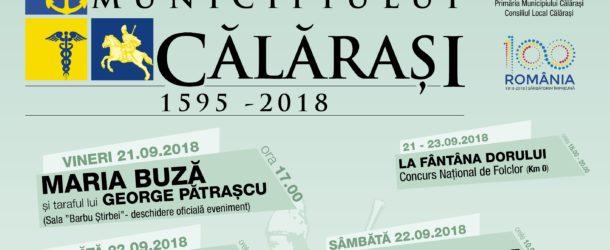 """Programul evenimentului """"Zilele Municipiului Călărași"""", 21-23 septembrie"""