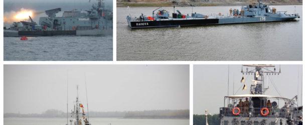 Două nave militare ale Flotilei Fluviale, în Portul Chiciu, cu ocazia Zilelor Municipiului Călărași