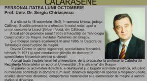 """""""Personalitatea lunii Octombrie – Prof. Univ. Dr. SERGIU CHIRIACESCU"""""""