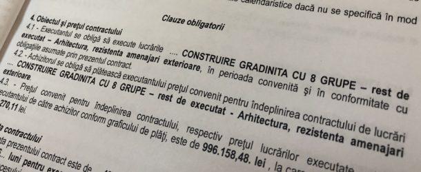 """S-a semnat contractul de lucrări pentru proiectul """"Construire Grădiniţă cu 8 grupe – rest de executat (arhitectură, rezistenţă, amenajări exterioare)"""""""
