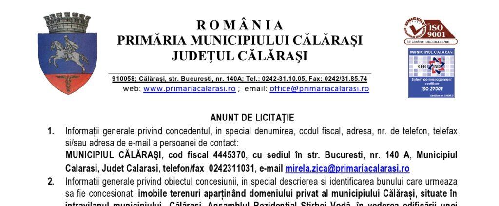 Primaria Calarasi - licitatie publica - loturi cartier rezidential